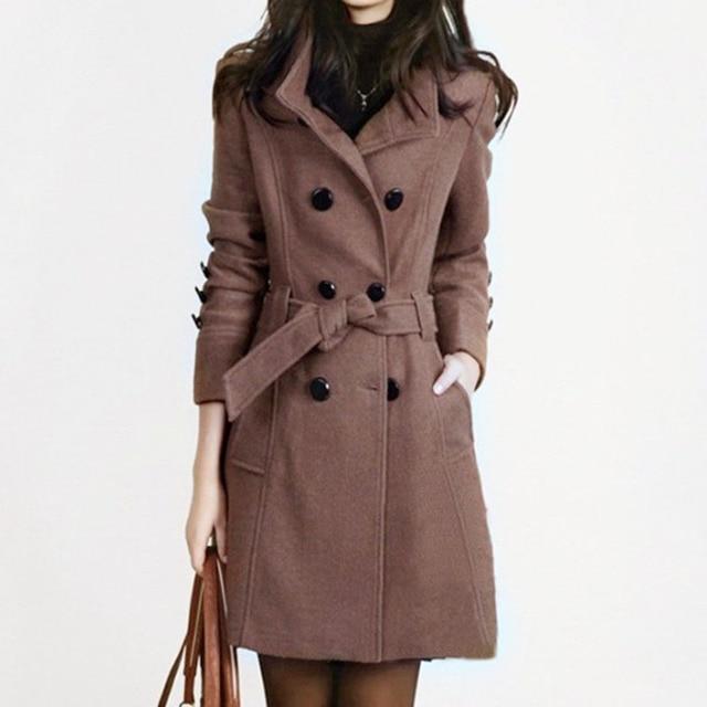 1PC Autumn Trench Coat Double Breasted Wool Coat Women Basic Coats Slim Fit Female Overcoat Casaco Feminino Abrigos Mujer ZZ3537