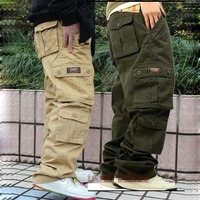 New Casual Harem Big Pockets Cargo Pants Men Cotton Joggers Loose Baggy Plus Size Hip Hop Pants Male Clothing