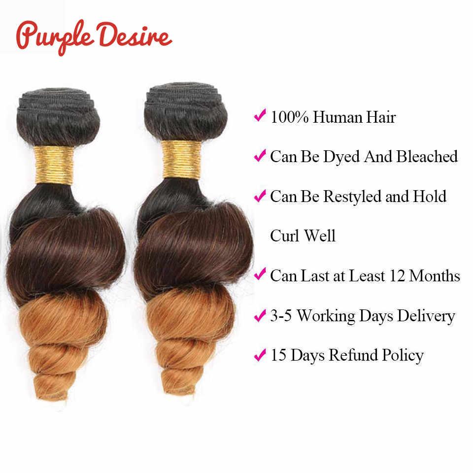 """Фиолетовый Desire пучки волос """"омбре"""" свободная волна человеческих волос эффектом деграде (переход от темного к бразильские волосы категории virgin T1B/4/30 3 оттенка, переходящие плавно от темного к светлому) Цветные волосы Реми для наращивания"""
