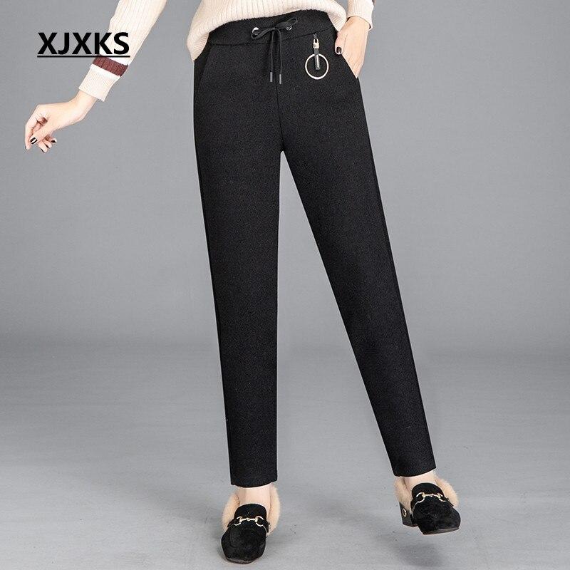 Xjxks Confortable Femmes Pantalon Harem Qualité Livraison Et Nouvelle De Vente Gratuite D'hiver Haute Spodnie Automne Noir Damskie rxn8UzqwYr