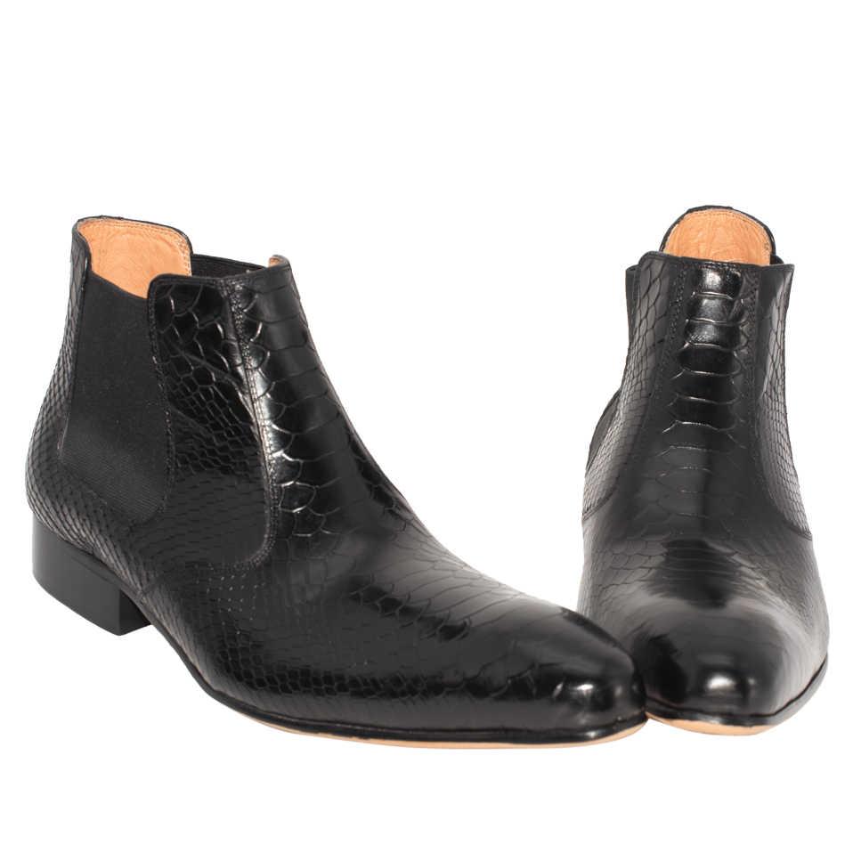 Mannen Chelsea Laarzen Mode Handgemaakte Reliëf Lederen Luxe Stijlvolle Zwarte Koffie Kleur Jurk Bruiloft Puntschoen Ankle Heren Schoenen