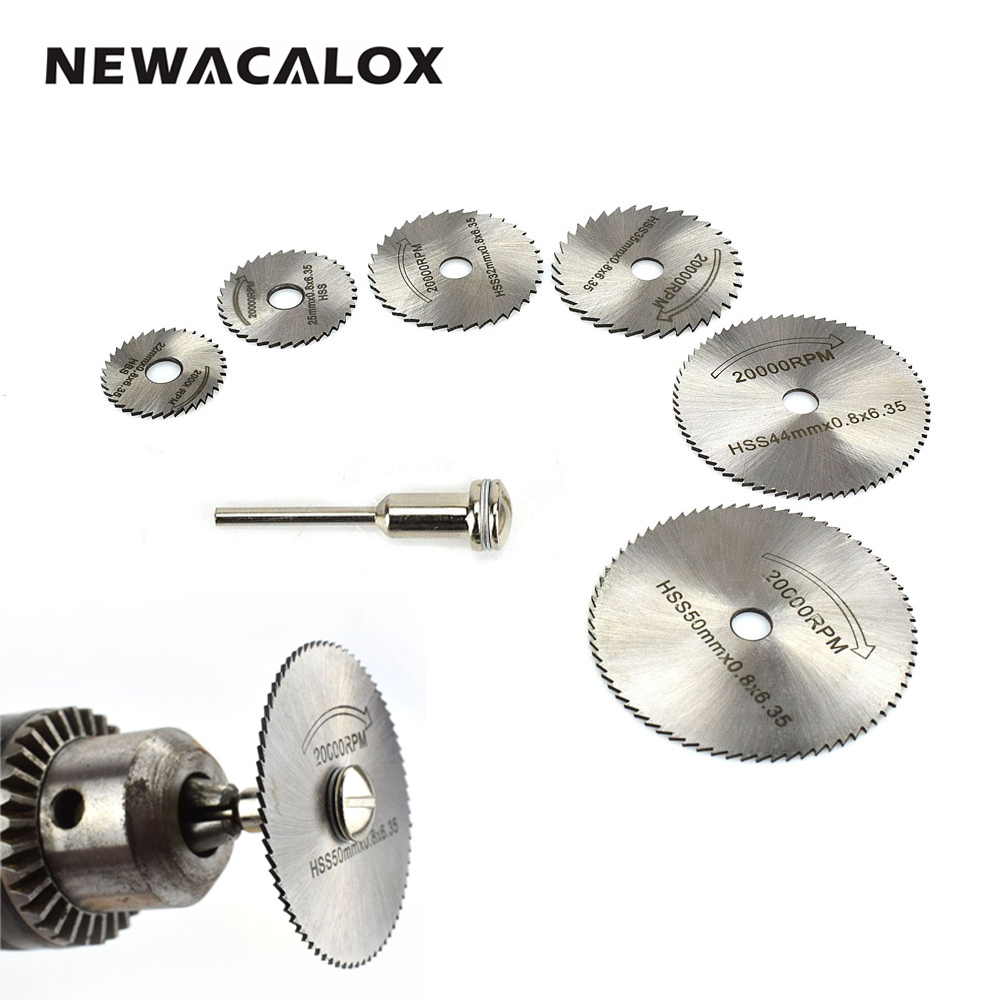 NEWACALOX HSS Rotary Tool Woodworking Circular Saw Blades Kit Set Fits Dremel 1/8 Mandrel Mini Cutting Disc for Wood Carving new 8 in 1 11 in 1 mental mini saw hacksaw diy hand saw for wood woodworking saws set kit multi purpose hobby tool t00