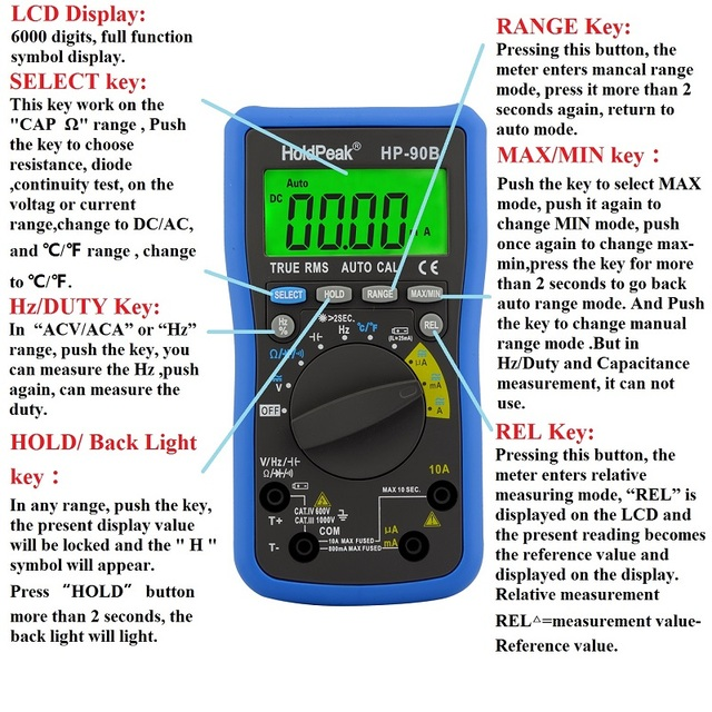 Solar Charge With Usb True Rms Digital Multimeter Auto Range Maxmin