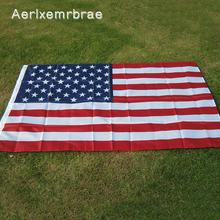 Darmowa wysyłka aerxemrbrae flag150x90cm flaga stanów zjednoczonych wysokiej jakości dwustronne drukowane poliester flaga ameryki przelotki USA flaga tanie tanio Aerlxemrbrae Polyester National Flag Hanging POLARTEC none Printed