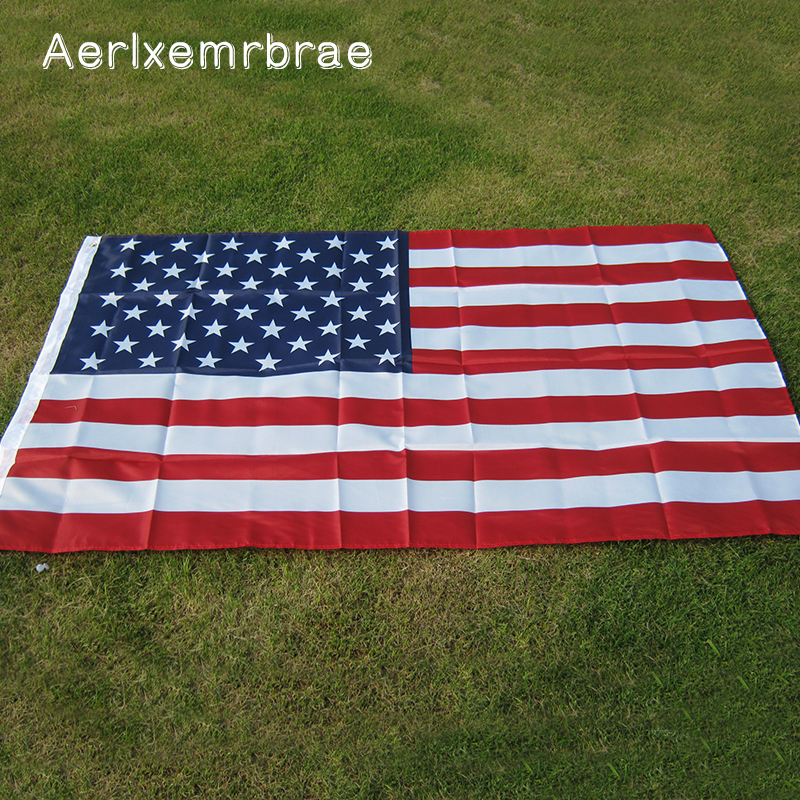 free shipping aerxemrbrae flag150x90cm us flag High Quality Double Sided Printed Polyester American Flag Grommets USA Flag(China)