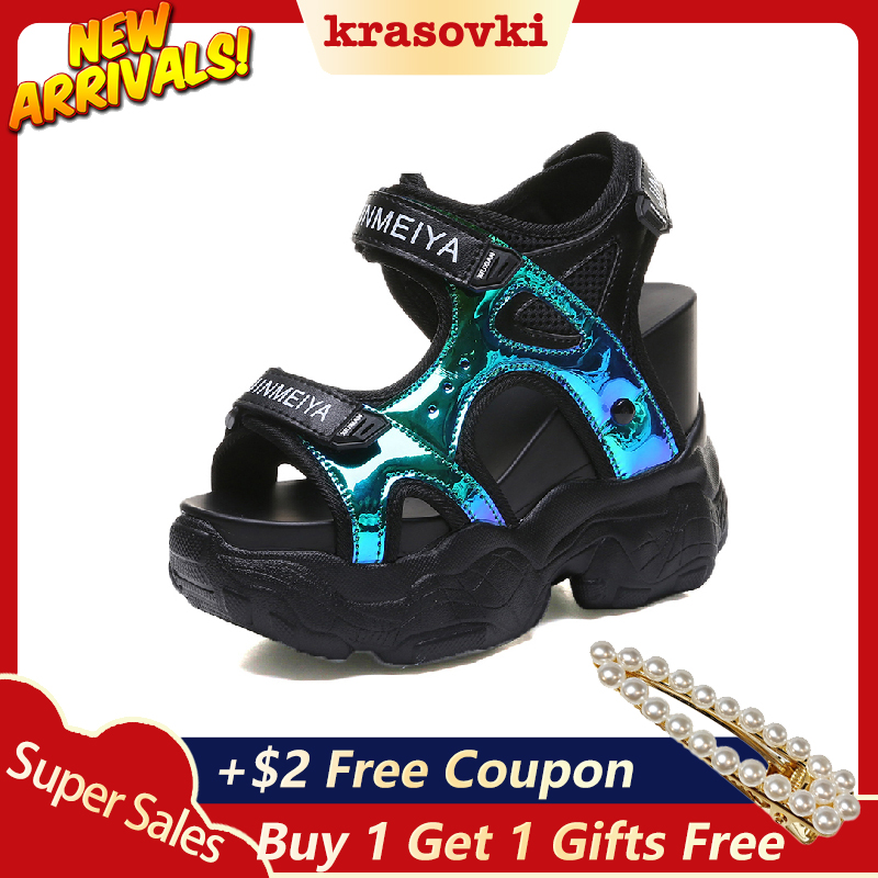 Krasovki Sandals Hook-Loop High-Heel Open-Toe Women Summer Thick-Bottom Casual Mujer