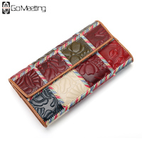 Go Meetting Genuine Leather Women Wallets Patchwork High Quality Card Holder Long Purse Lady Real Leather Wallet Clutch Bag WQ4
