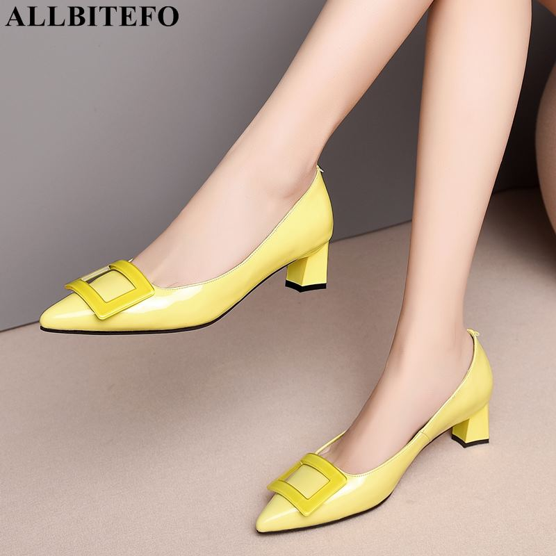 Image 2 - ALLBITEFO pinkycolor genuine leather high heels women shoes high quality women high heel shoes office ladies shoes women heels-in Women's Pumps from Shoes