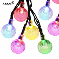 SXZM 10M 100led Waterproof 17mm Bubble Ball Led String Light AC220V Outdoor Decorations Party Garden Home