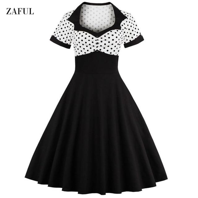 96760024400 Женщины Лето Горошек Старинные Dress Fashion Party И Ежедневно Милая Шеи  Определенной Талии Большие Качели Dress