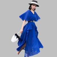 HAMALIEL 2019 Women Chiffon Blue Dress Summer Fashion Ruffles Batwing Sleeve Long Vestidos Casual High Waist Holiday Split Dress