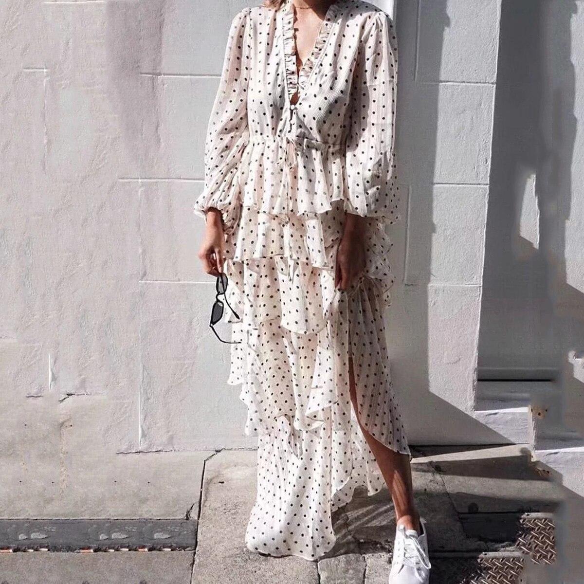 Col en v à pois imprimé à volants en mousseline de soie Hippie Chic robe femmes Boho printemps manches bouffantes cordon Maxi robes