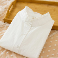 Spring New Lace Round Peter Pan Collar Blouse Cotton Long Sleeved White Shirt Ladies Art Style