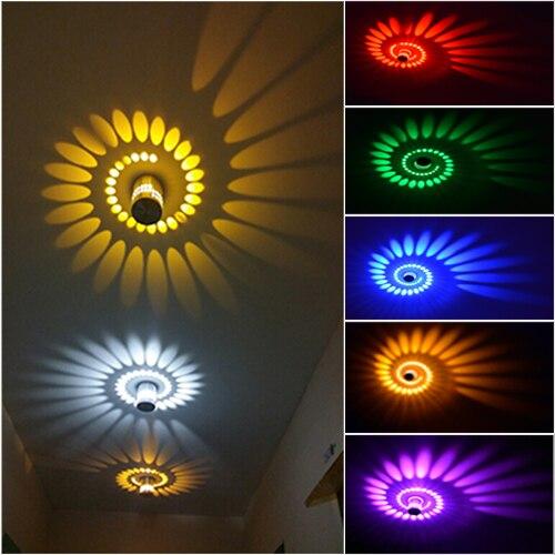 110V/220V 3W Colro Led Modern Wall Light Spiral light LED Wall effect Lamps For KTV/Bar/ Decoration /Living Room DA