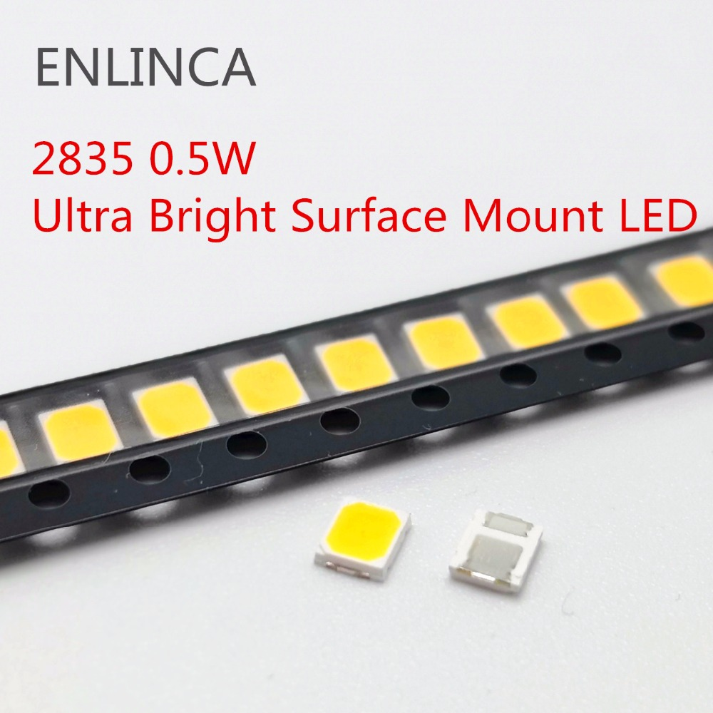 100pcs <font><b>SMD</b></font> <font><b>LED</b></font> <font><b>2835</b></font> White Chip 0.5 W 3.0-3.6V 150mA 50-55LM Ultra Bright Surface Mount <font><b>LED</b></font> Light Emitting Diode Lamp image
