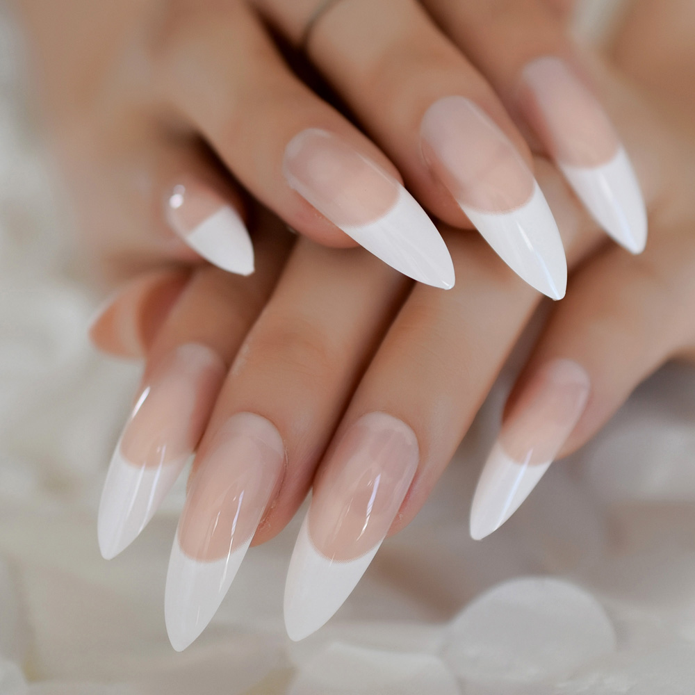 US $1 89 5% OFF|White French Tips Fake Nails Extra Long Stiletto False  Nails Natural Painted Long Party Designed Nails 24 Count-in False Nails  from
