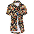 Camisa de Hawaii Holiday Top Camisa de la Playa de Estilo Floral Chemise Homme Carreaux Hombres Camisa Social Camisa Listrada Chemises Homme