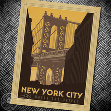 New York The Manhattan Bridge Retro Posters kraft paper decorative painting paper posters sticker cafe bar pub print picture
