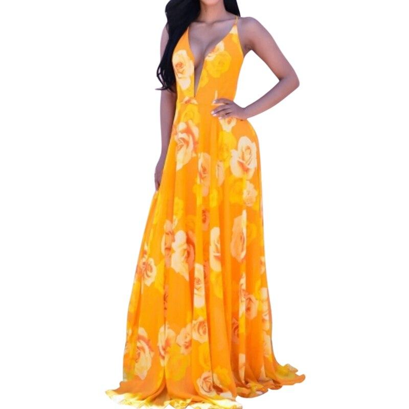 Women Sleeveless Crisscross Back Surplice Wrap Botanical Dress Summer Yellow V Neck Cap Sleeve Maxi Dress