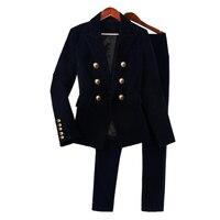 Pant Suits OL 2 Piece Sets autumn gold velvet suit jacket female Slim was thin European and American small suit female suit
