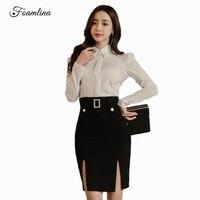 Foamlina Mode frauen Anzüge Weiß Langarm-shirt Doppel Split Bleistift Rock Anzug Elegante Damen Büroarbeit Zwei Stücke Sets