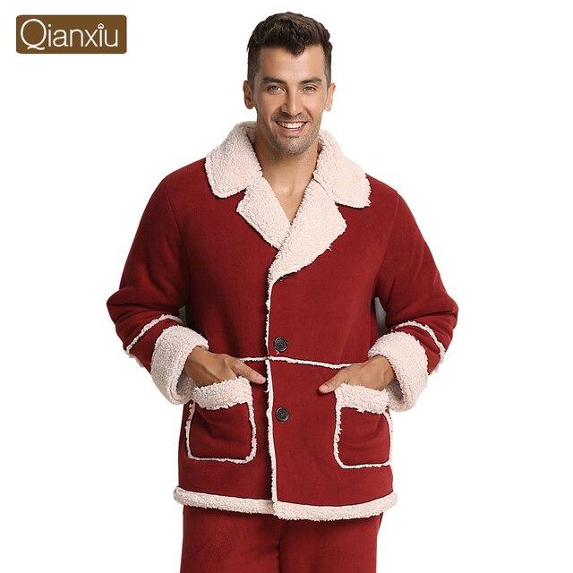 Qianxiu Brand Pajamas Winter Thicken Turn-down Collar Pajama Set for women and men Plus Size Longe Wear