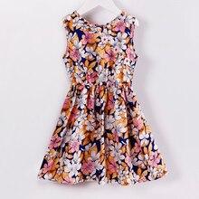 2019 Fashion Kids Girls Summer Dress O-neck Sleeveless Silk Floral A-line Elegant Cute Princess Outfits