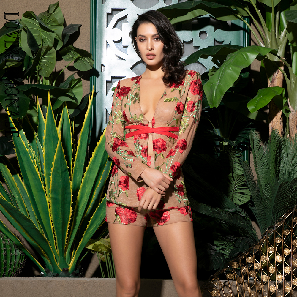 LOVE&LEMONADE Sexy V-Neck Nude Mesh Red Flower Embroidery Material Two-Pieces Set LM80316-2