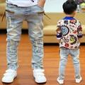Año nuevo, primavera niños niños casual jeans infantil chicos moda remaches cremallera etiqueta lavan pantalones de mezclilla 2-14 años!