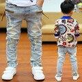 Ano novo, crianças primavera meninos jeans casual crianças meninos moda zipper rebites etiqueta washed denim calças 2-14 anos!