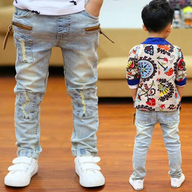 280d3ca1 New Year , Spring children boys casual jeans kids boys fashion zipper  rivets label washed denim