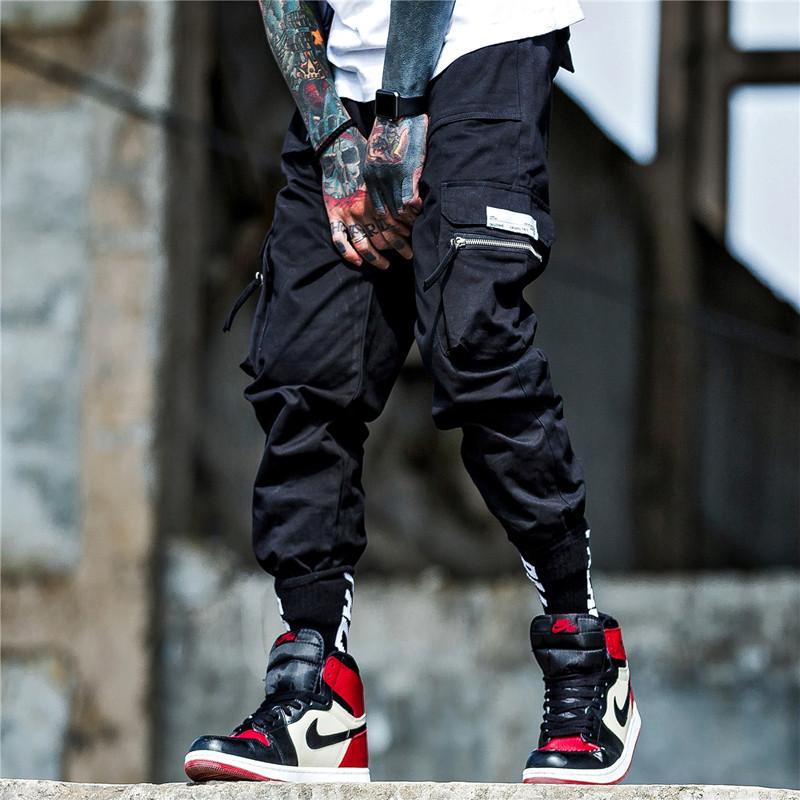 Ribbon Cargo Pants Harem Pants Men Hip Hop Joggers Color Patchwork Track Trousers US Size