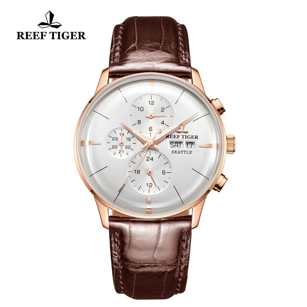 Récif Tigre/RT Top Marque De Luxe Automatique Montre Reloj Hombre 2018 Multi Fonction Rose Or De Mode Montres Bracelet En Cuir RGA1699