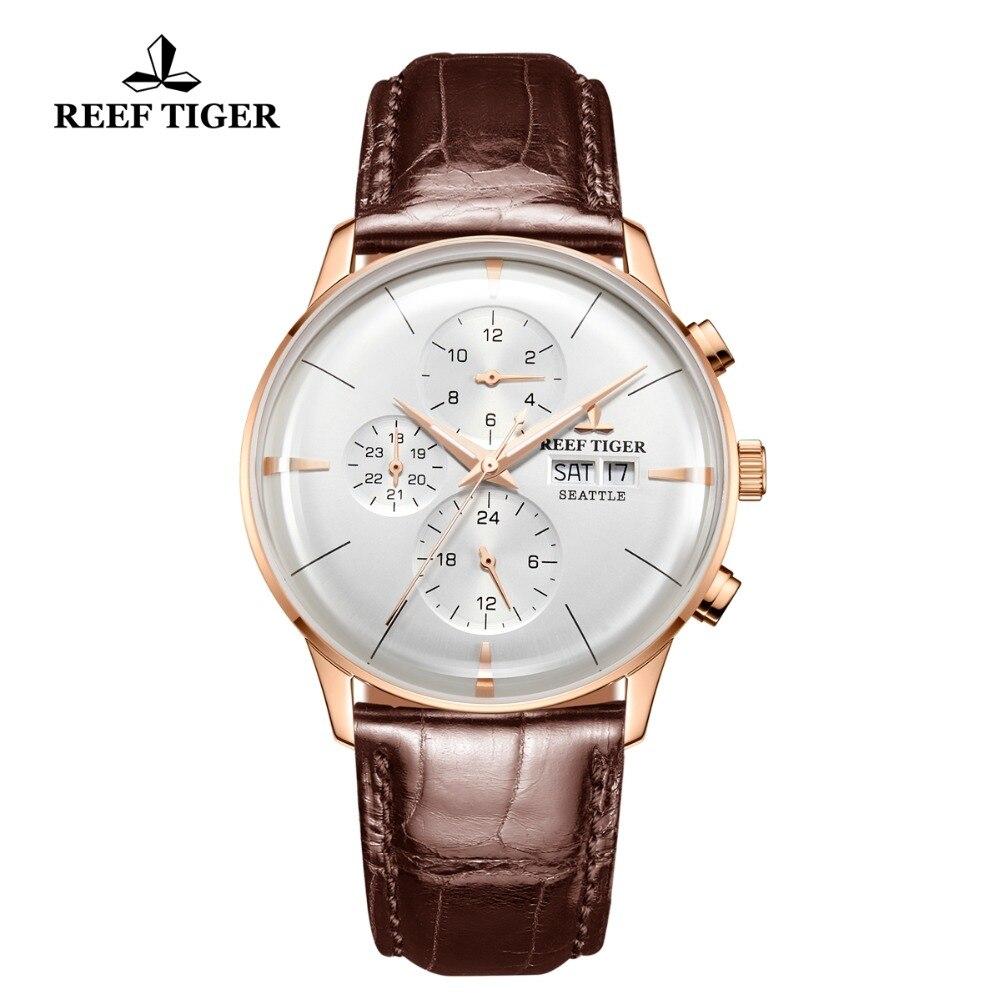 Reef Tigre/RT Automatico Top Brand di Lusso Della Vigilanza Reloj Hombre 2018 Multi Funzione In Oro Rosa Orologi di Moda Cinturino In Pelle RGA1699