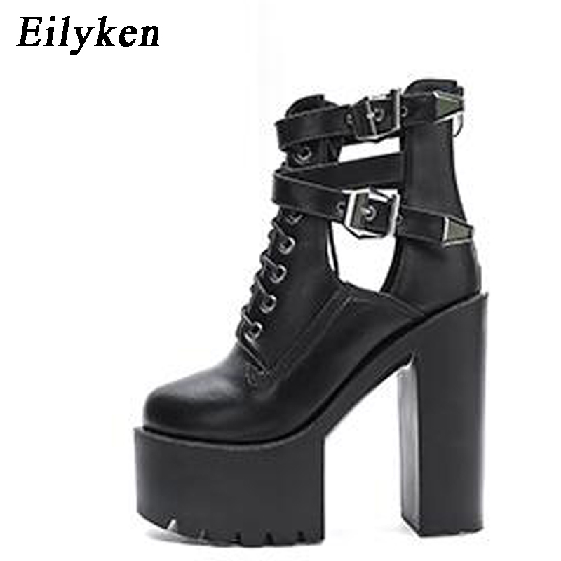 Eilyken Fashion 2019 Autumn Women Boots 15CM Platform Buckle Strap Lace Up Leather Short Sandals Boot Black White Ladies Shoes