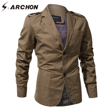 S.ARCHON 3D Tactical Windproof Pilot Jackets Men Cotton Notched Pocket Military Field Outerwear Coats Casual Army Flight Jacket(China)