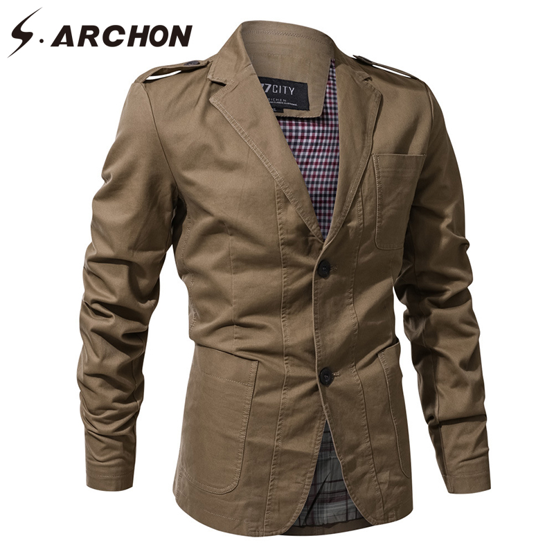 S.ARCHON 3D Tactical Windproof Pilot Jackets Men Cotton Notched Pocket Military Field Outerwear Coats Casual Army Flight Jacket