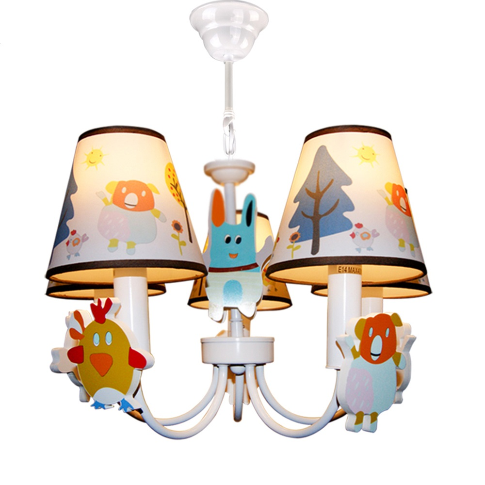 HGhomeart Cartoon Chandelier 5 Lamp Suspension Kids Room 110V-220V 5 Head E14 Led Chandelier Flower Chandeliers for The Bedroom