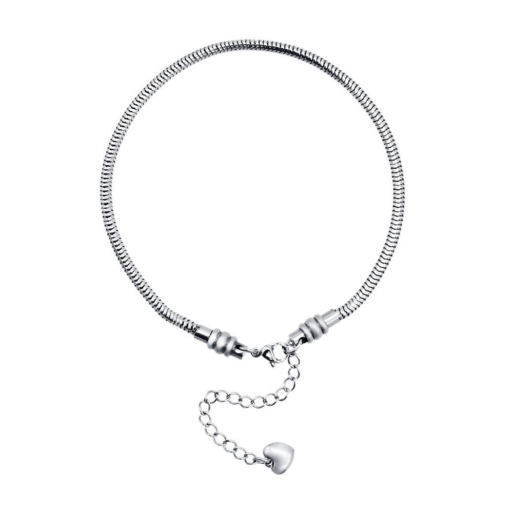 Stainless Steel Starter Charm Bracelet European Style Clasp