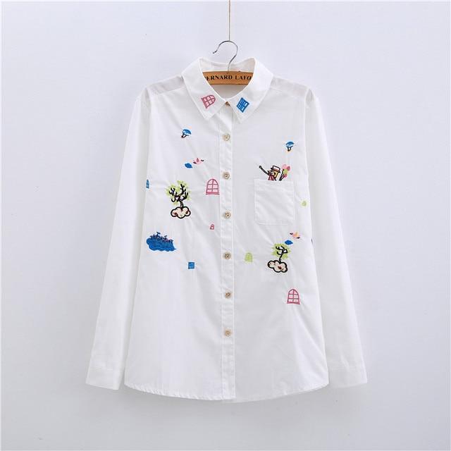0666c3d7d3ea4 Mori niña tierna bordado tops colegio camisa blanca para mujer mujeres de  dibujos animados camisa blanca