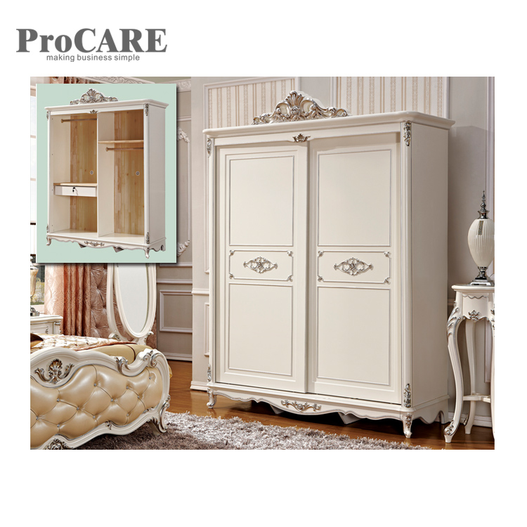 wholesale 2 door wooden white wardrobe closet of china factory sliding wooden design triple wardrobe - 8001