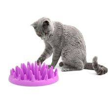 Dog Catch Interactive Hard Silicone Cat Kitten Slow Food Feed Non Slip Anti Gulping Feeder Bowl