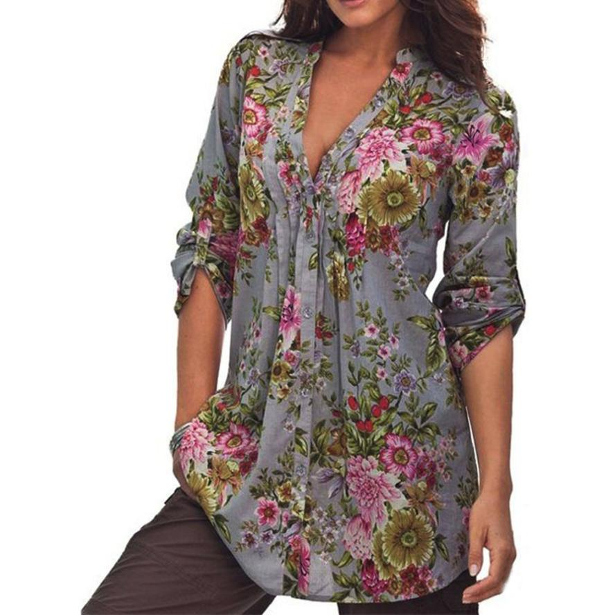 USPS 2018 plus size Women Vintage Floral Print fashion blouse V-neck Tunic Tops Women's Fashion Plus Size Tops Shirt women tops