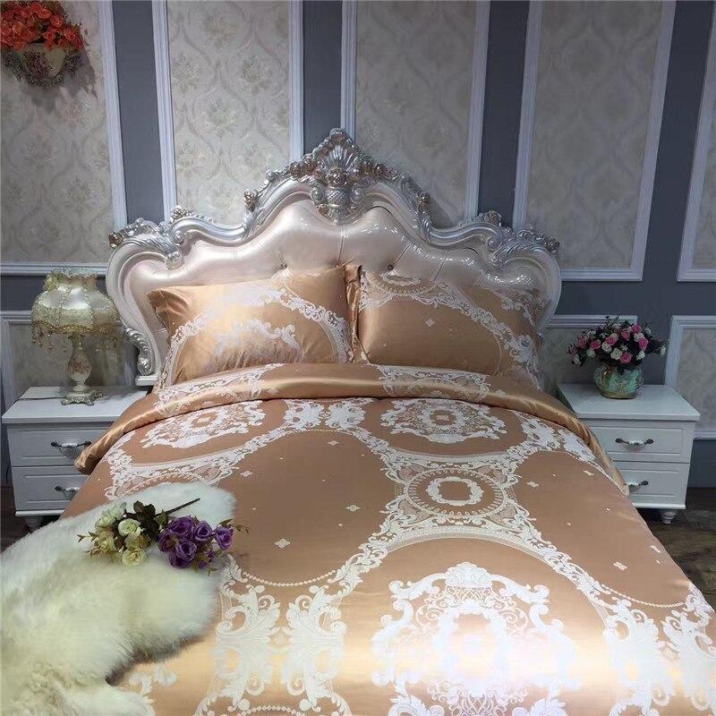 LeRadore Satin épaissir ensembles de literie 100% coton 4 pièces broderie 3D linge de lit draps de lit ensemble Jacquard literie roi reine