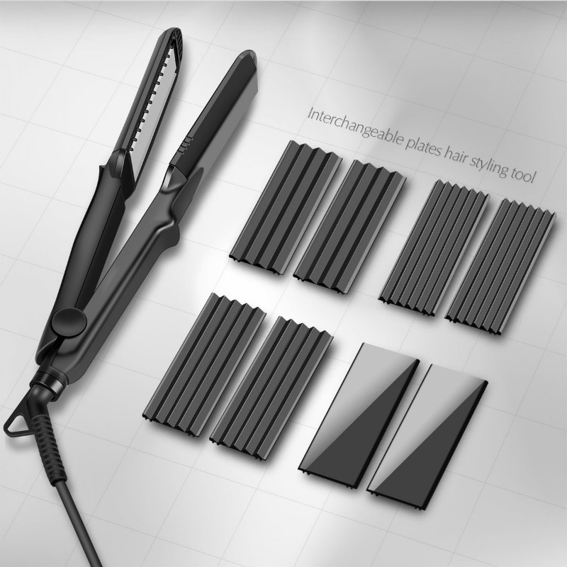 4-in-1 Interchangeable Plates Fast Hair Straightener Flat Iron Hairdressing Styling Wave Perm Rod Corn Hair Clip Curler Maker 4 in 1 hair flat iron ceramic fast heating hair straightener straightening corn wide wave plate curling hair curler styling tool