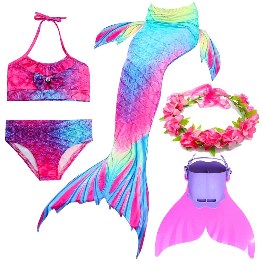 Monofin Sparkle Scale Swimmable Mermaid Kids Girls Cos Gift 001 Tail Bikini top