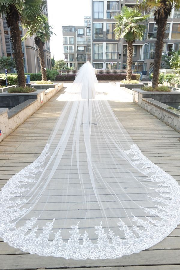 White Ivory Sequins Lace 3 4 Metres Wedding Veils Cathedral Length Long Bridal Veil In From Weddings Events On Aliexpress