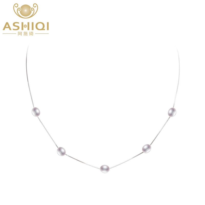 ASHIQI Real Natural Freshwater Pearl Necklace Pendant For Women With 925 Sterling Silver Chain Fashion Jewelry