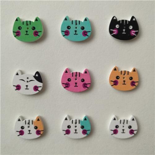50 шт смешанные животные 2 отверстия деревянные пуговицы для скрапбукинга поделки DIY Детские аксессуары для шитья одежды пуговицы украшения - Цвет: Cat head