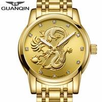 GUANQIN Top Luxury Brand Men S Watch Men S Gold Sculpture Quartz Watch Waterproof Business Watch